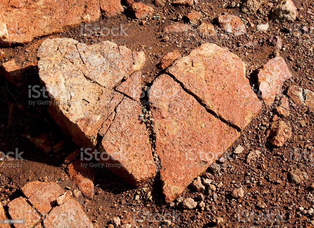 Heart Shaped Stone Rock Broken stock photo