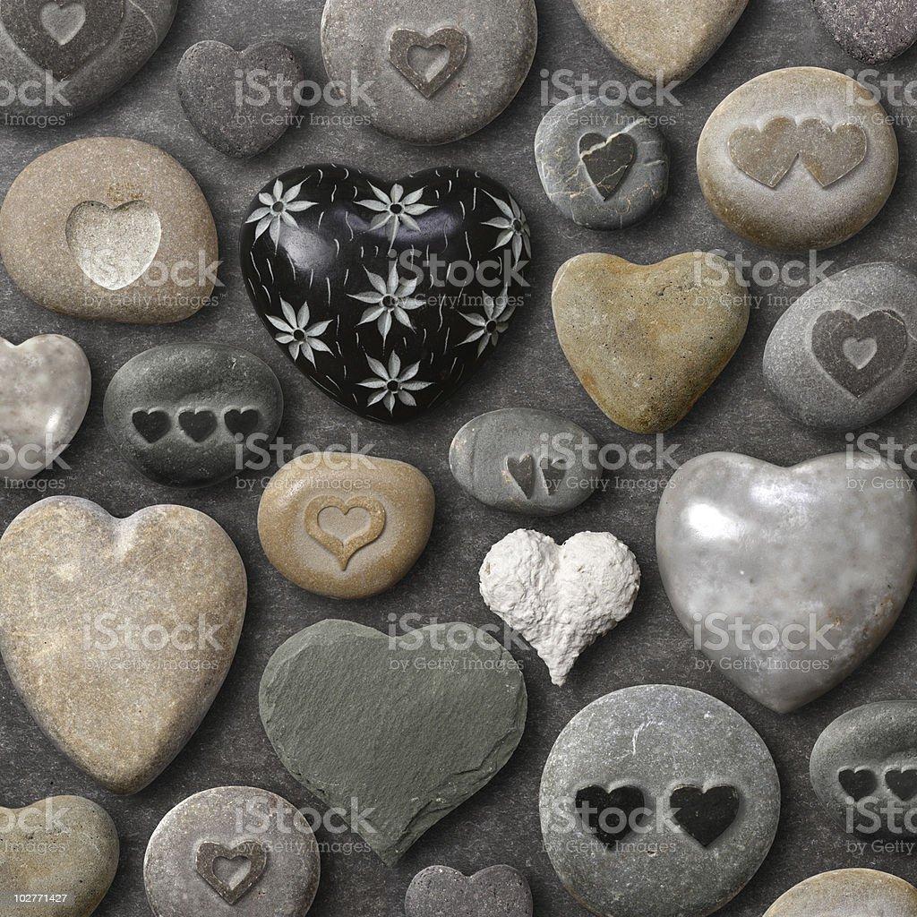Heart shaped stones and rocks stock photo