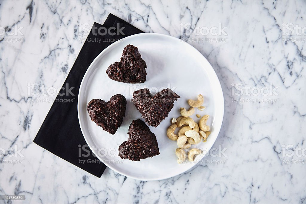 Heart shaped sugar free brownies stock photo