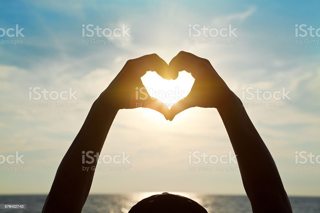 Heart Shaped Sunset stock photo