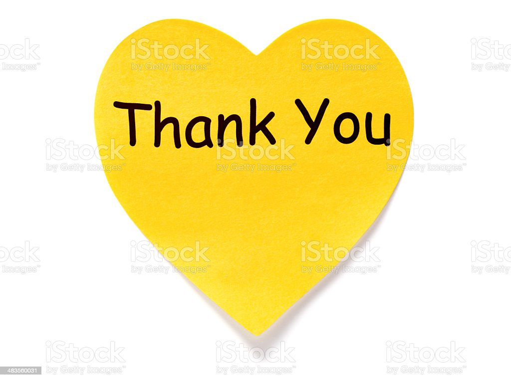 Heart shaped Thank You post-it note stock photo