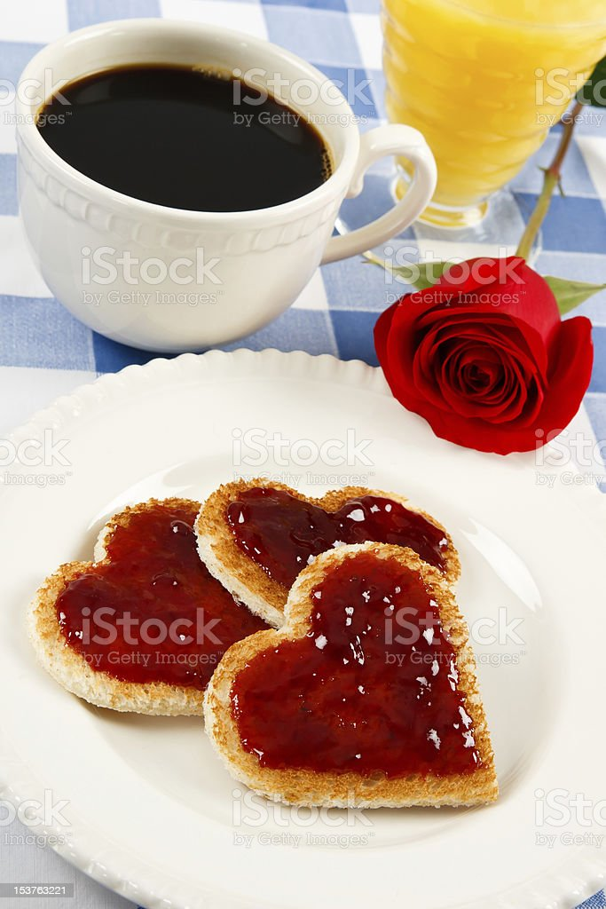 Heart Shaped Toast For Valentines Day Breakfast royalty-free stock photo