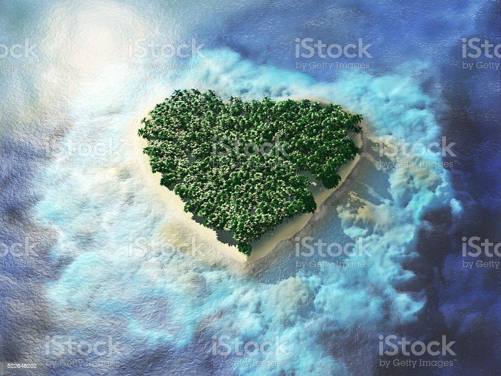 Heart shaped tropical island. stock photo