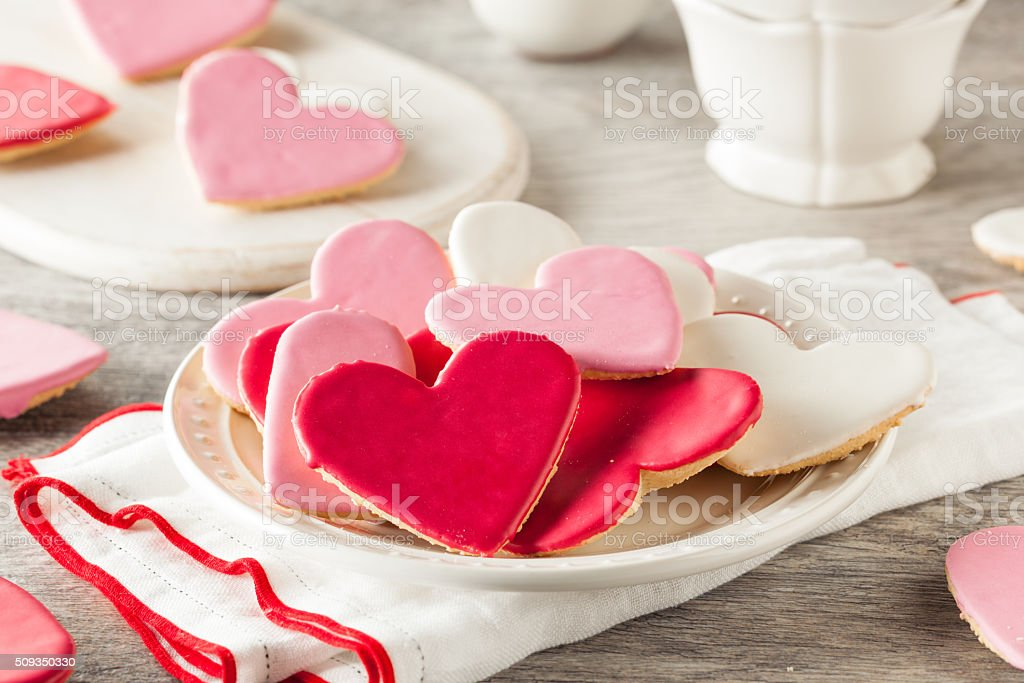 Heart Shaped Valentine's Day Sugar Cookies stock photo