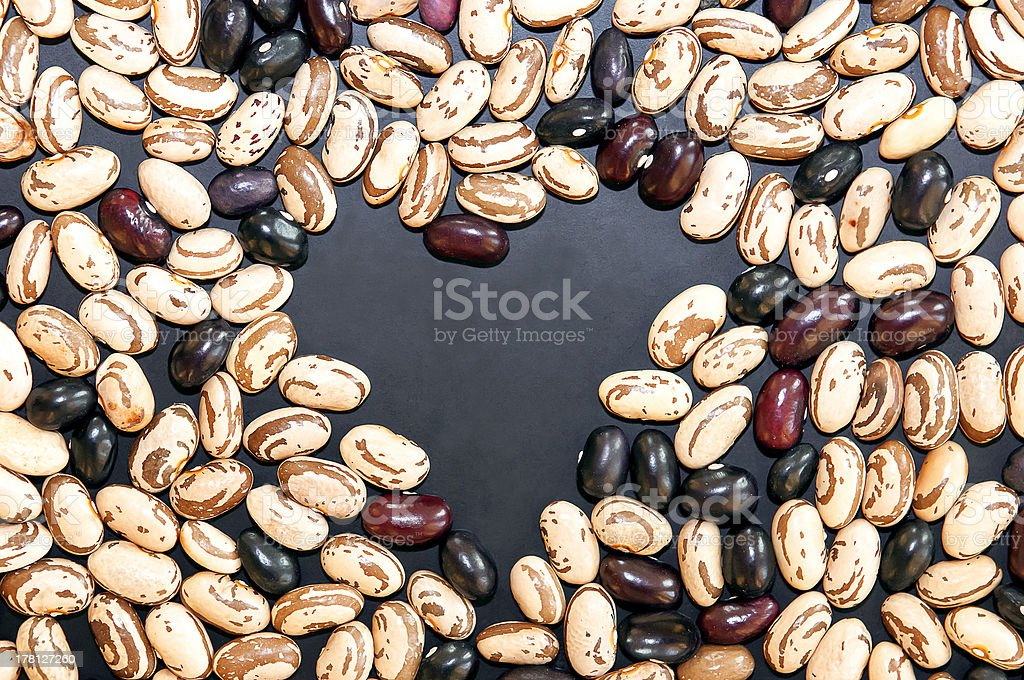 Heart shapeing copy space from beans royalty-free stock photo