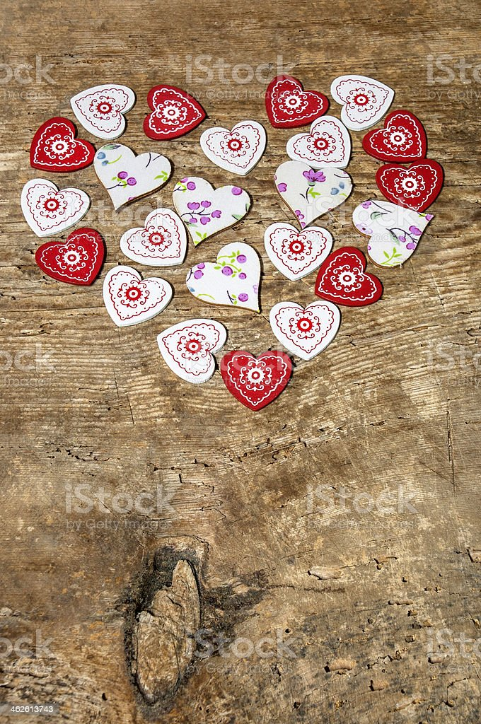 Heart shapes on blank wood royalty-free stock photo