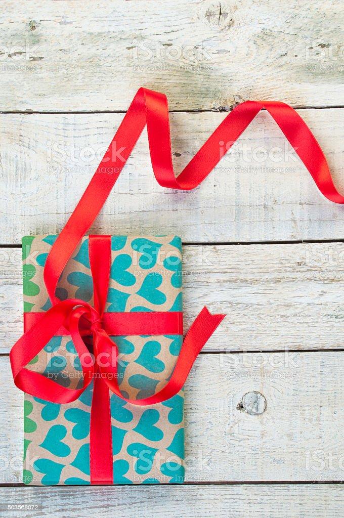 Heart shapes on gift box stock photo