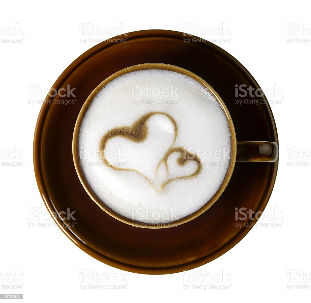 heart shapes on milk froth stock photo