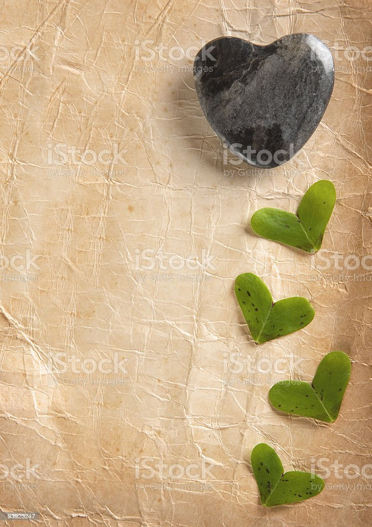 Heart Shapes on Old Paper stock photo