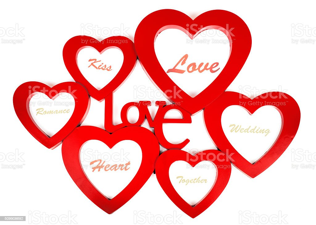 Heart shappes with label love stock photo