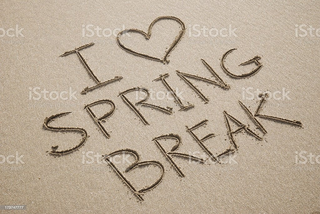 I Heart Spring Break Message in Sand royalty-free stock photo