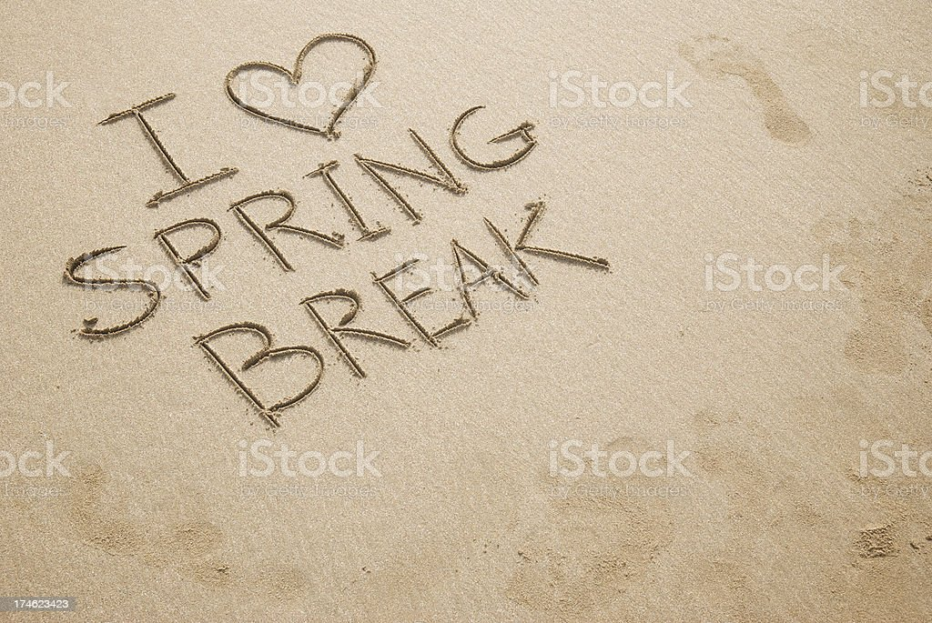 I Heart Spring Break Message w Footprints royalty-free stock photo