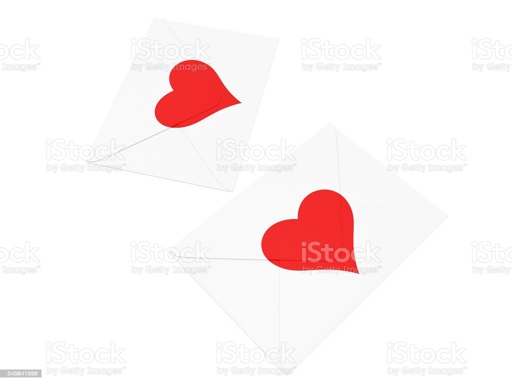Heart Stamped White Envelope stock photo
