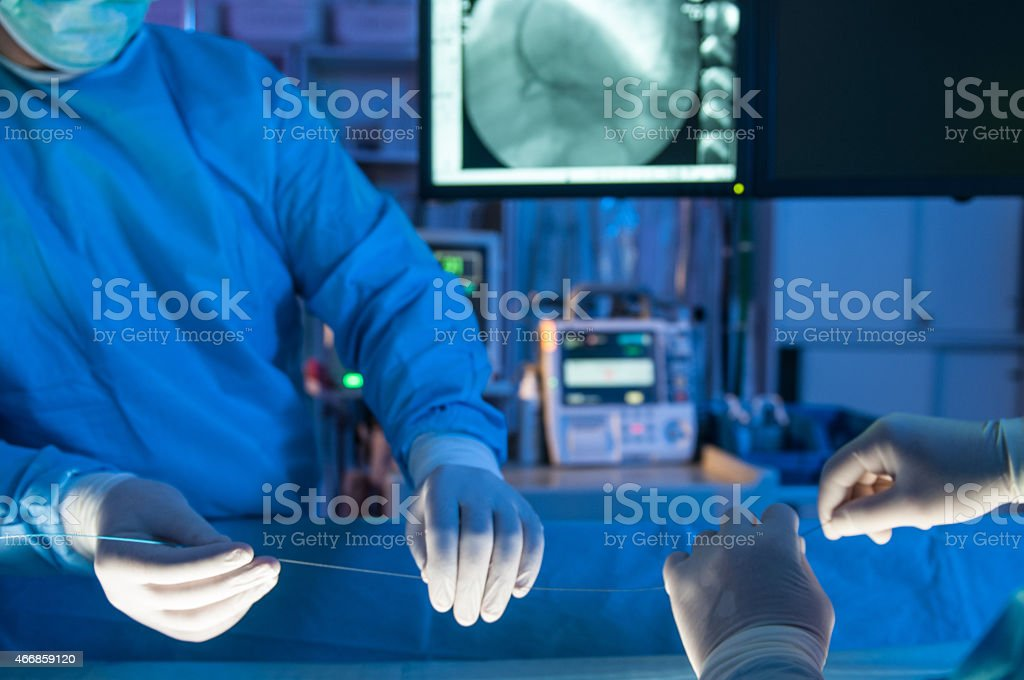 heart stent surgery stock photo