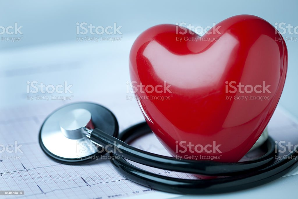 Heart, stethoscope and EKG royalty-free stock photo
