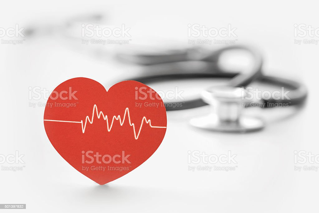heart symbol and stethoscope stock photo