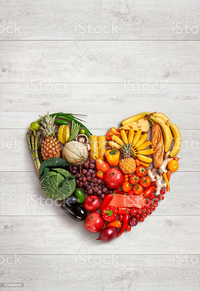 Heart symbol. Fruits diet concept. Healthy eating concept stock photo