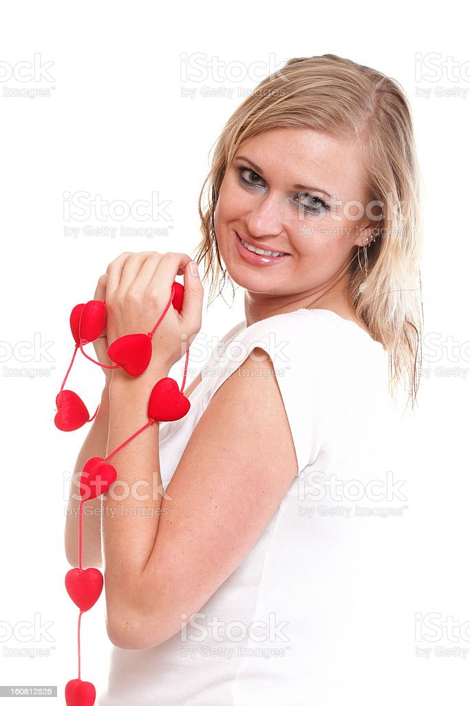 Heart symbol in woman hands isolated royalty-free stock photo