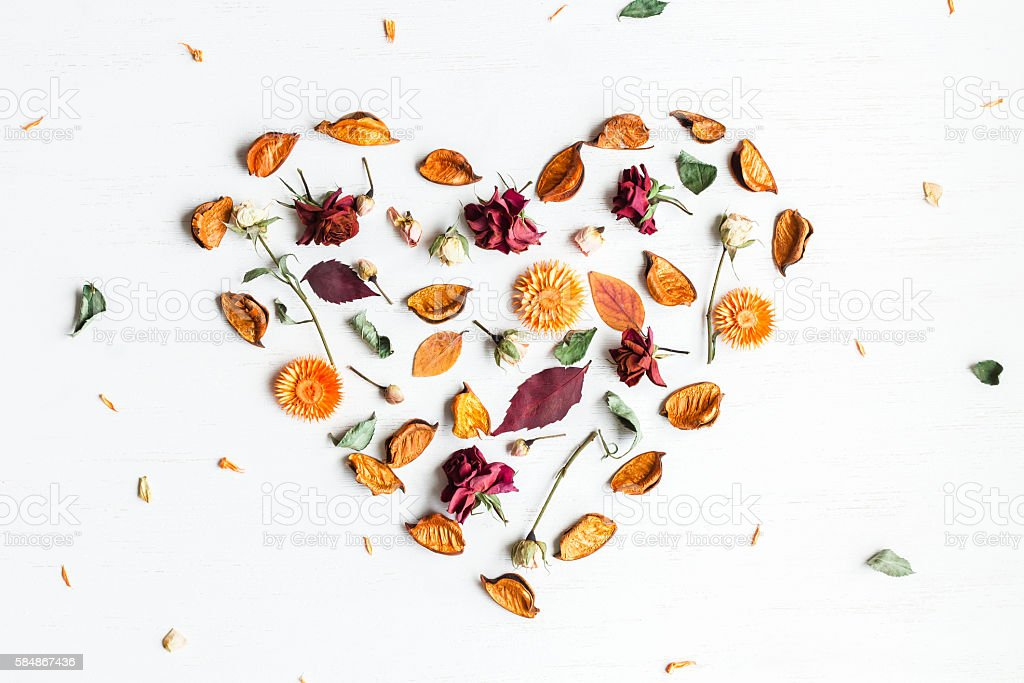 heart symbol made of dried flowers and autumn leaves stock photo