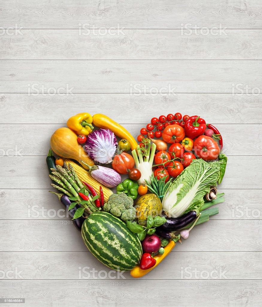 Heart symbol. Vegetables diet concept. stock photo