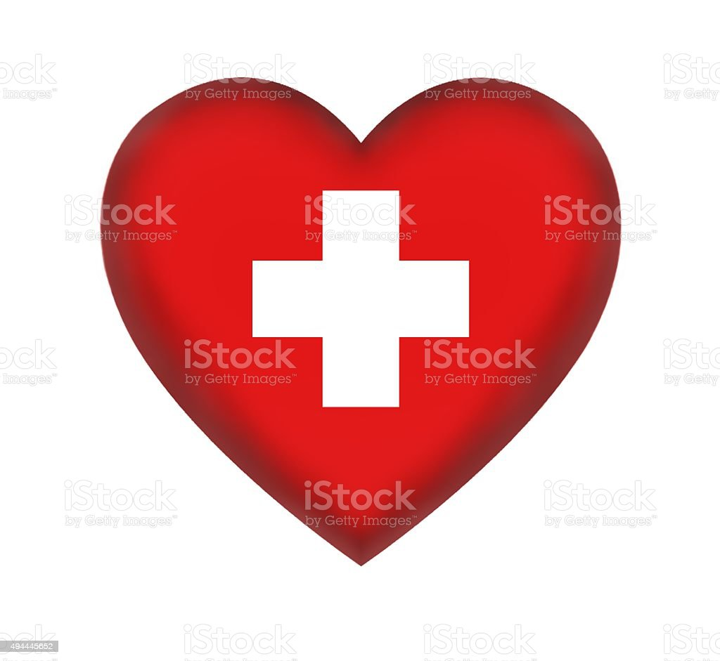 Heart symbol with first aid sign on white background stock photo