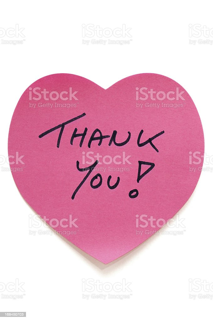 Heart Thank You Postit Note stock photo