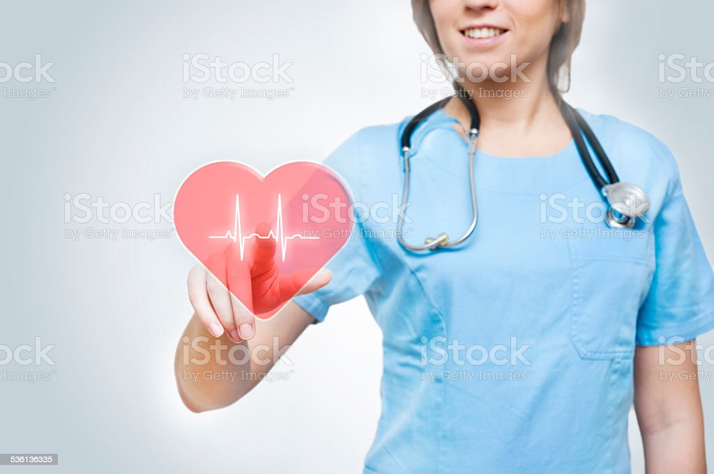 Heart / touch screen medical concept (Click for more) stock photo