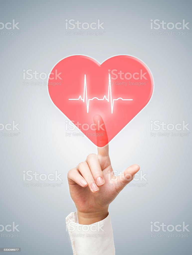 Heart / touch screen (Click for more) stock photo