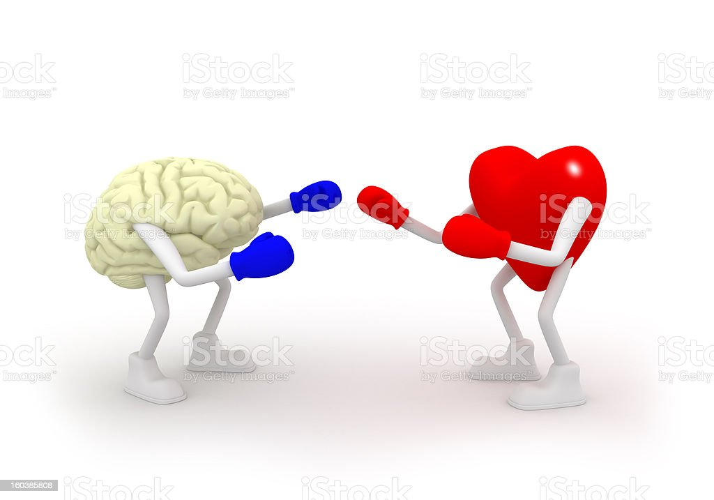 Heart vs Mind. Fighting. royalty-free stock photo