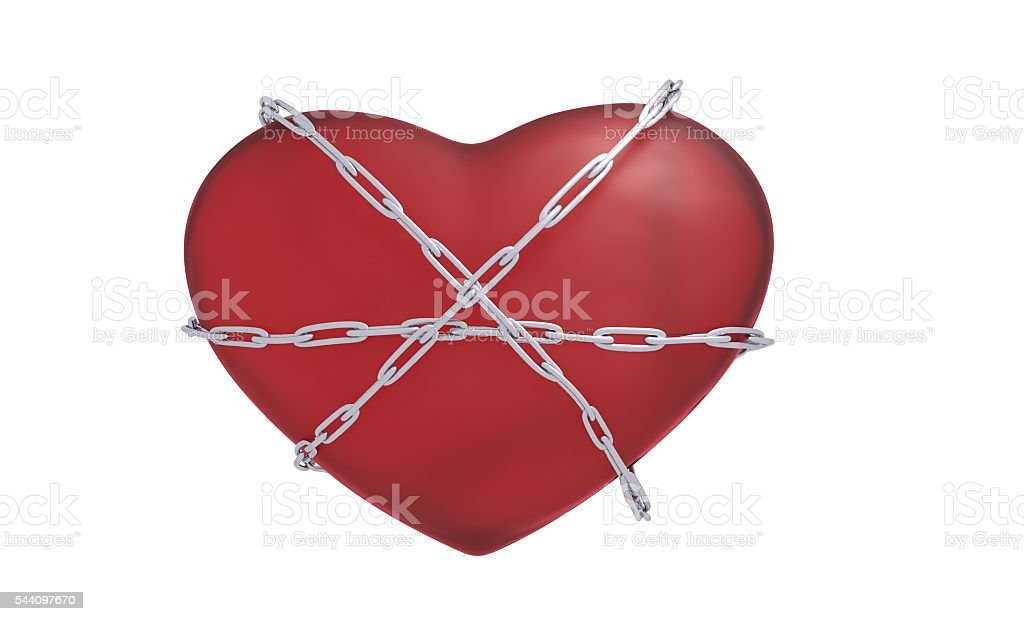 heart with a chain 3d illustration stock photo