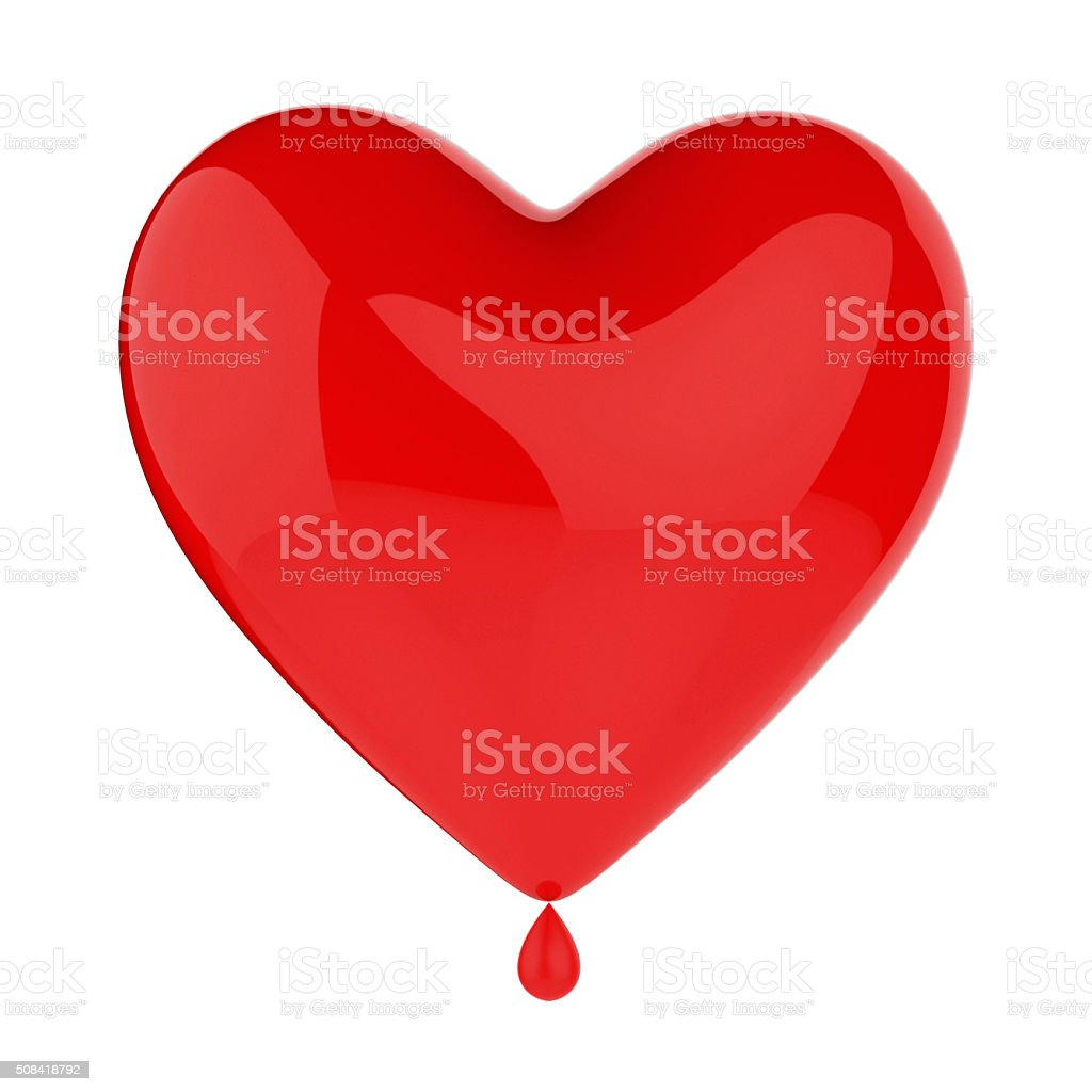 Heart with a drop of blood stock photo