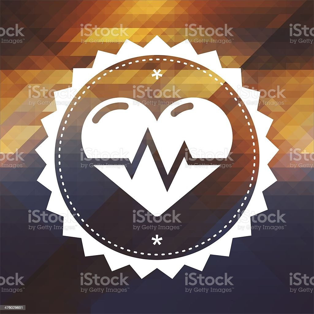 Heart with Cardiogram Line on Triangle Background. stock photo
