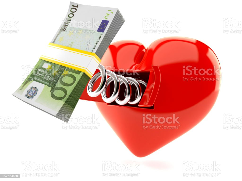 Heart with euro stock photo