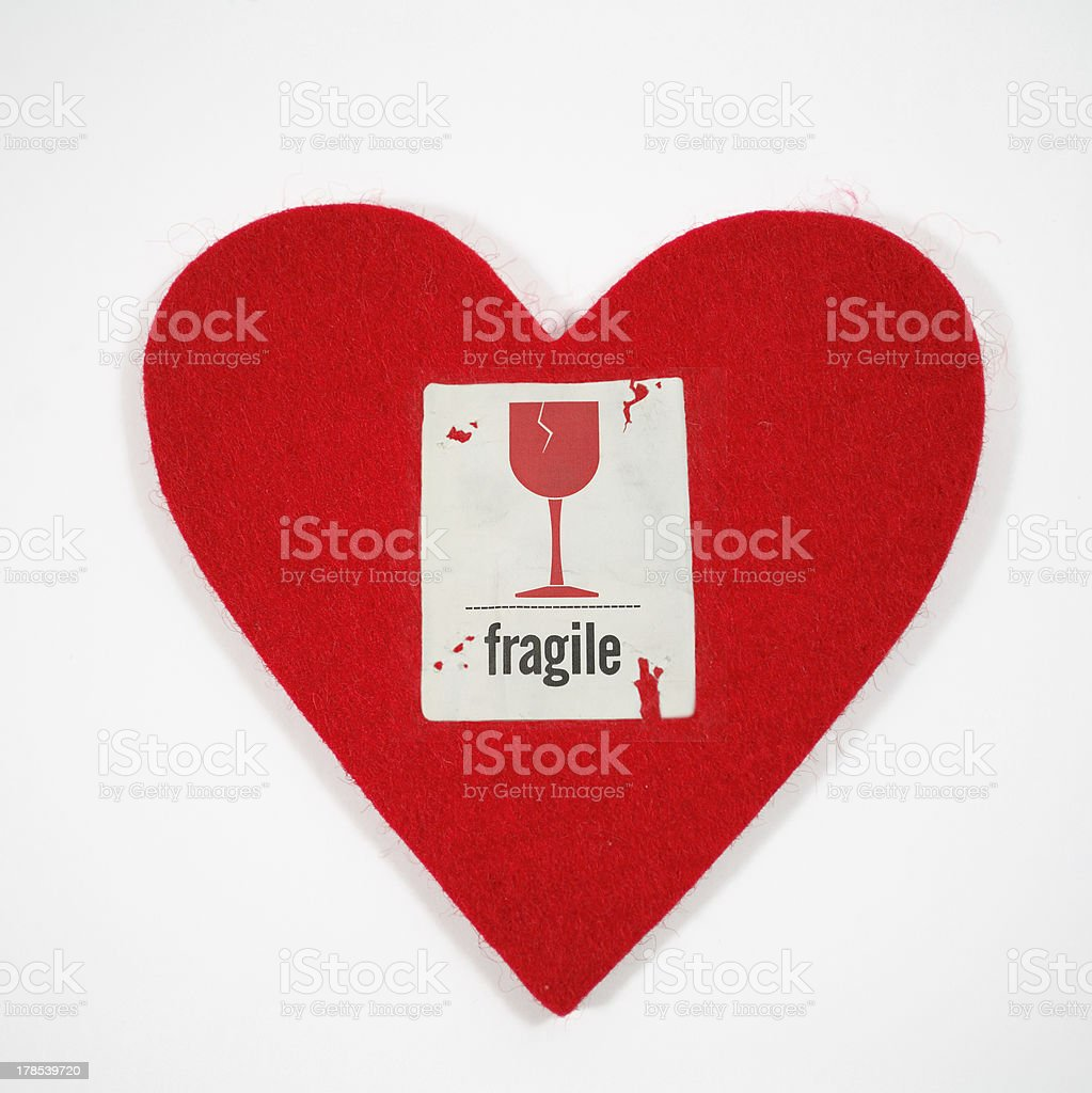 heart with fragile sticker stock photo