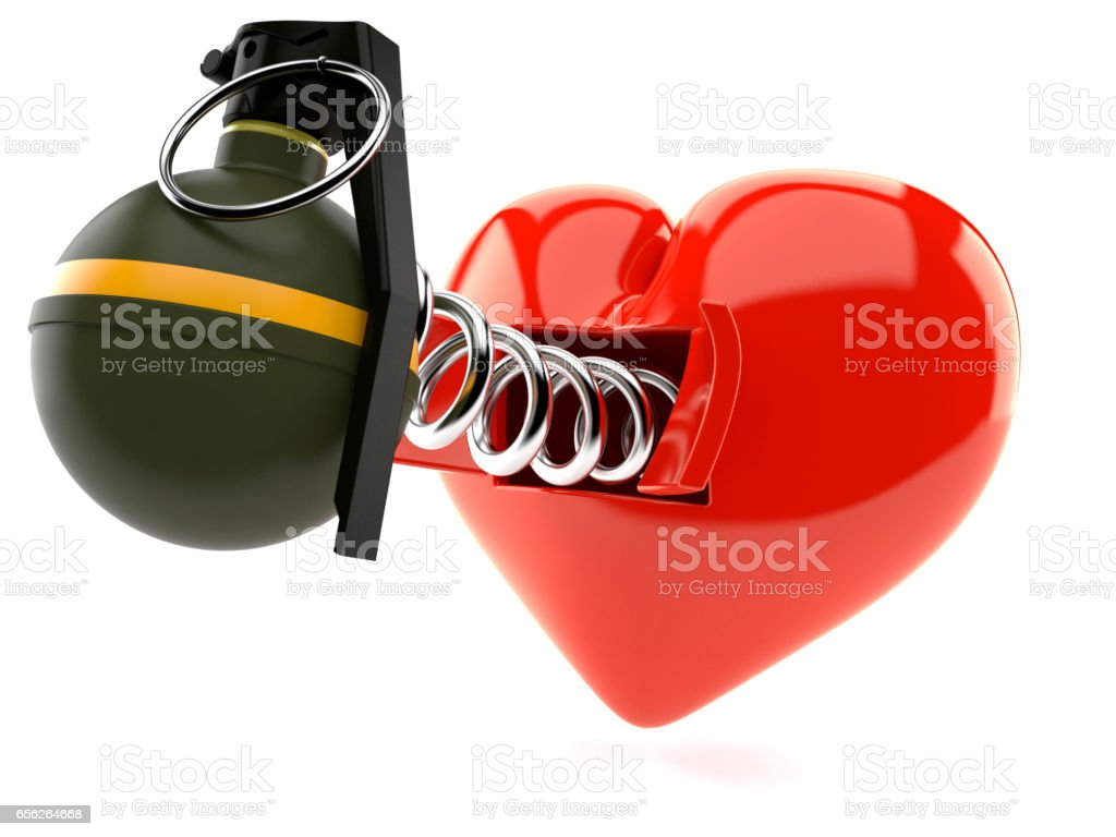 Heart with hand grenade stock photo