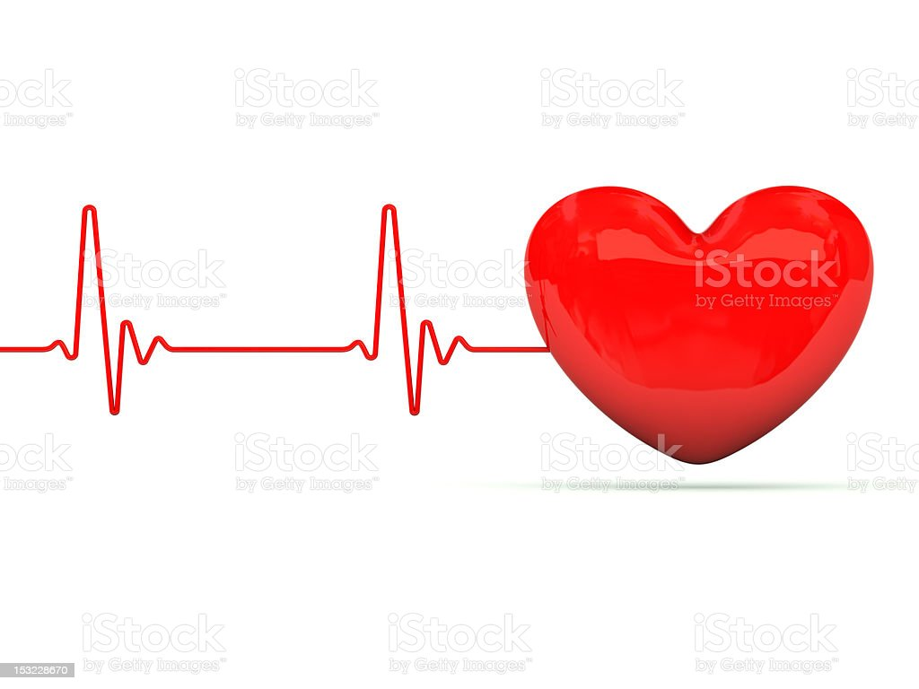 Heart with heartbeat stock photo