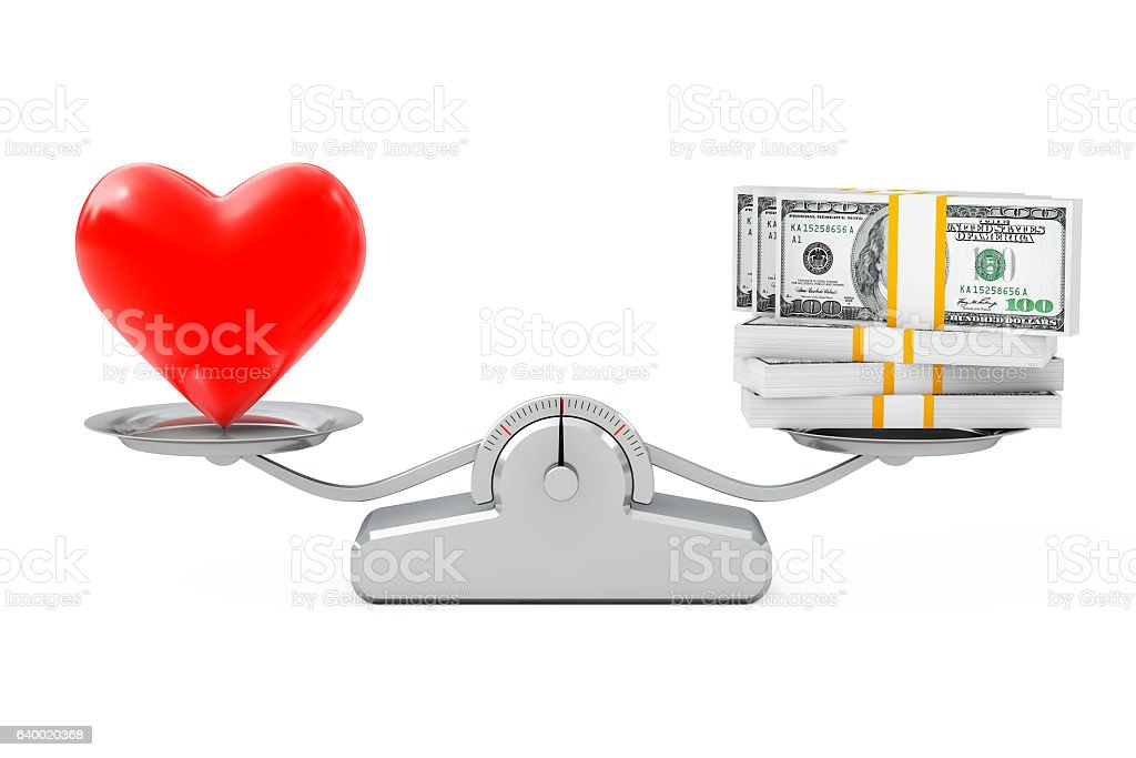 Heart with Money Balancing on a Simple Weighting Scale. stock photo