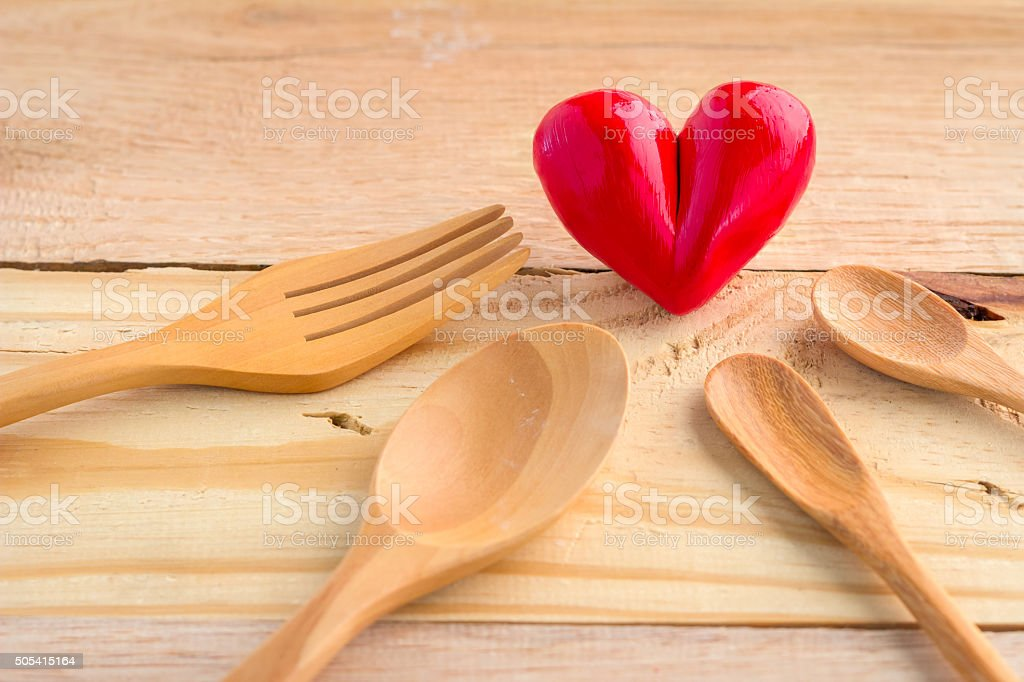 heart with spoon and fork stock photo