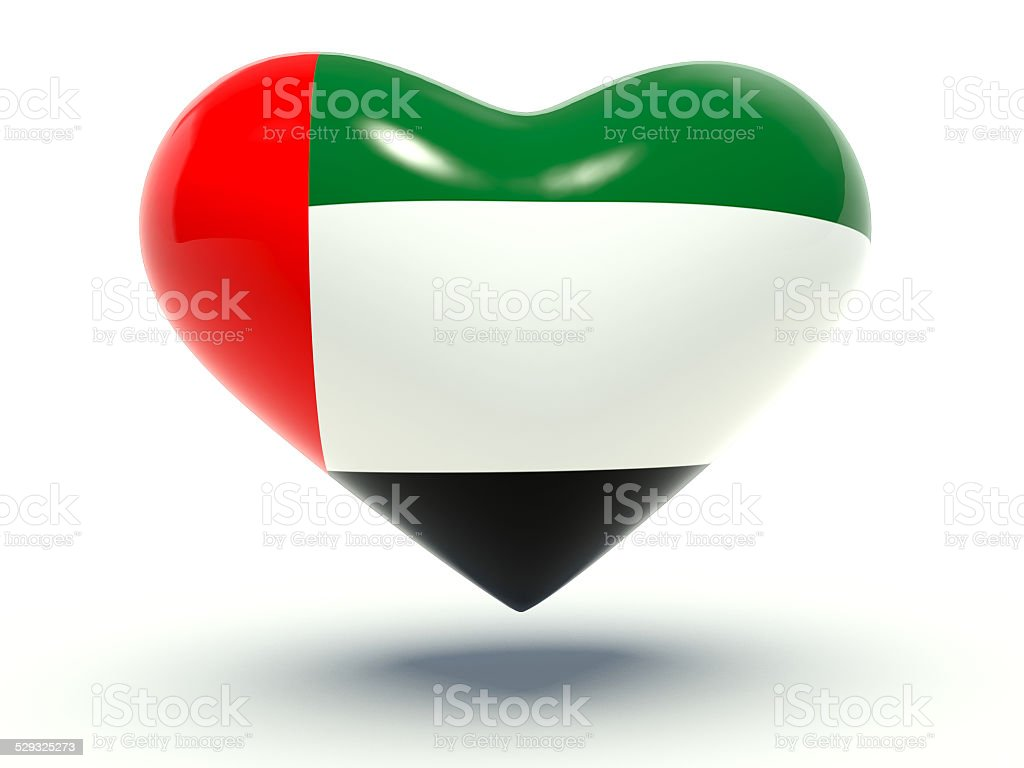 Heart with United Arab Emirates flag colors. 3d render illustration. stock photo