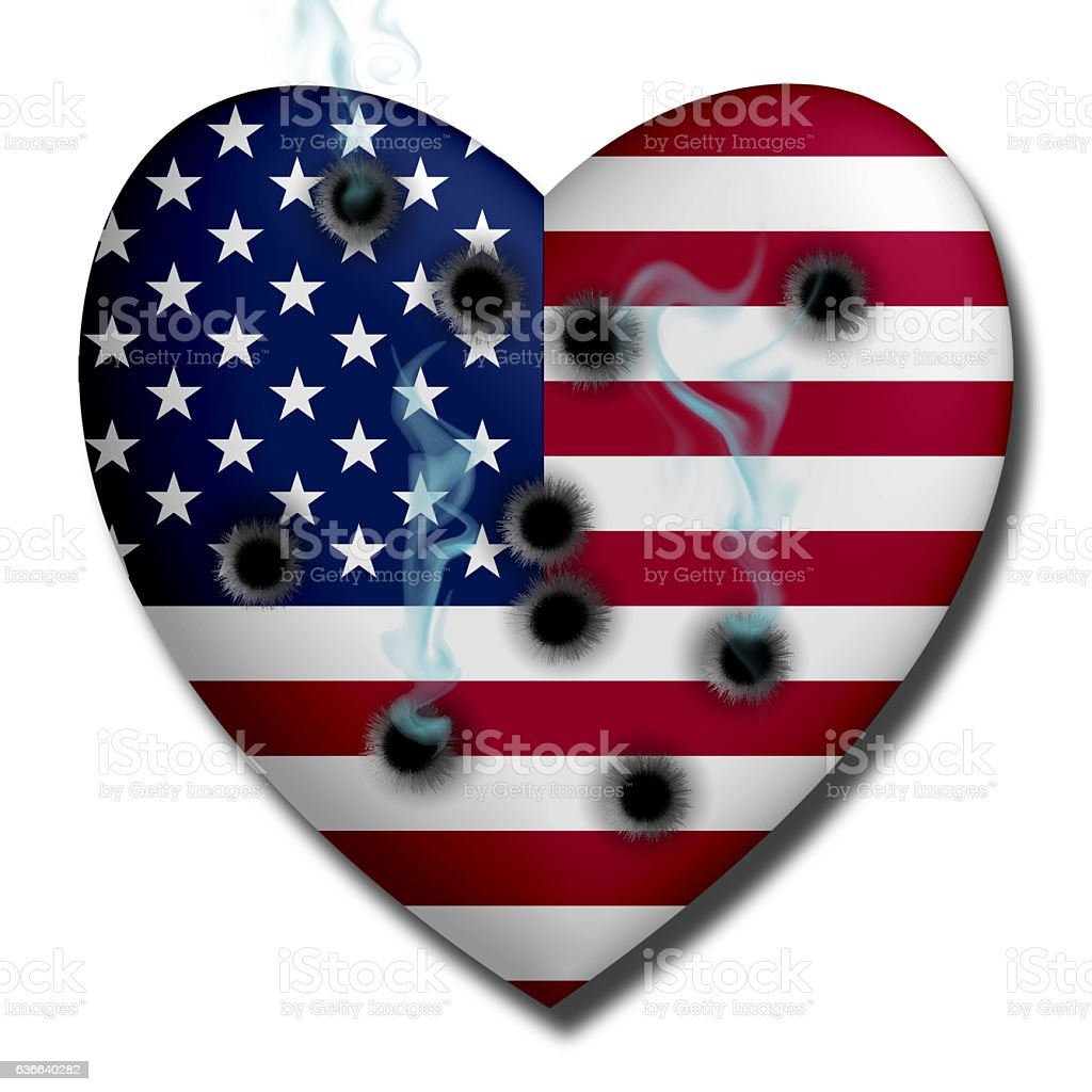 USA Heart Wounded stock photo