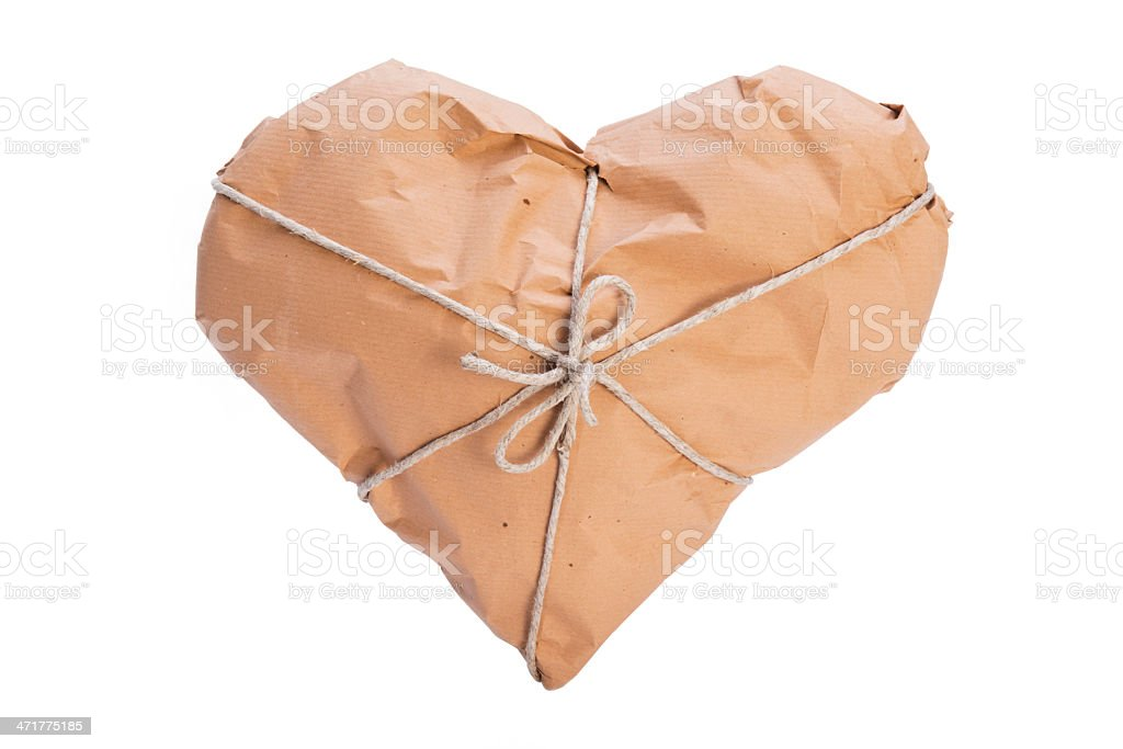 Heart wrapped for shipping royalty-free stock photo