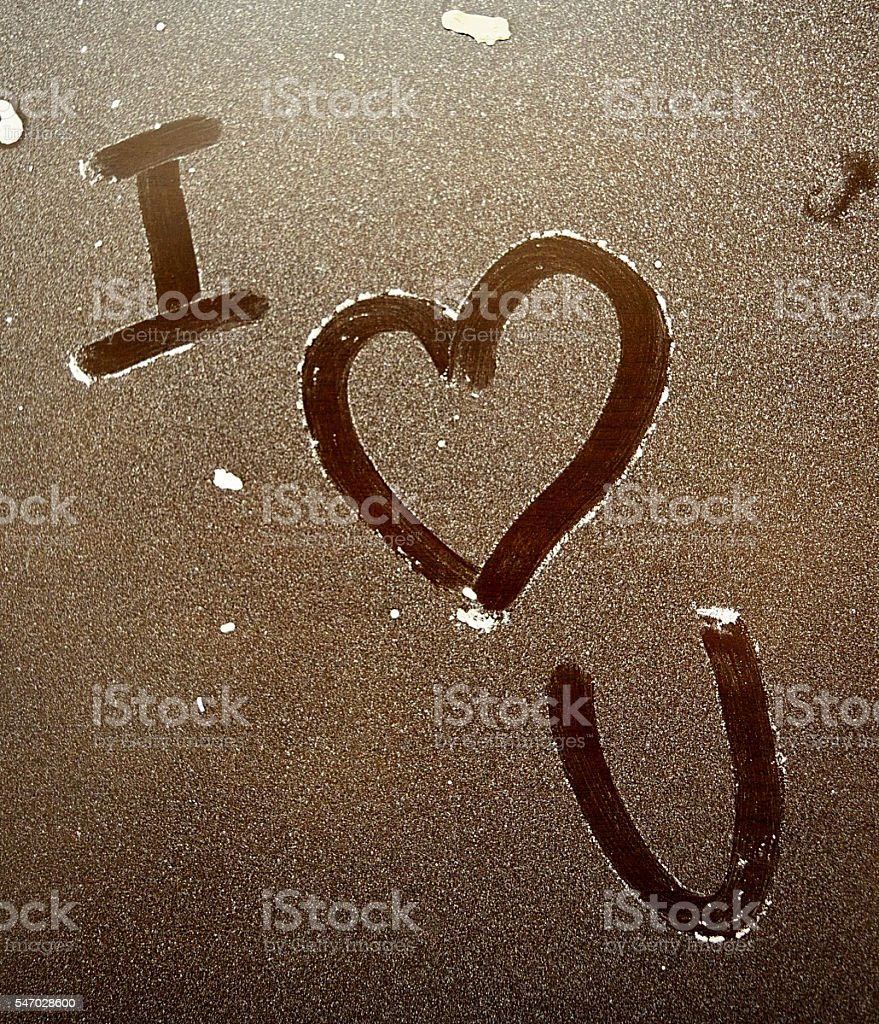 I heart You written in the white powder stock photo
