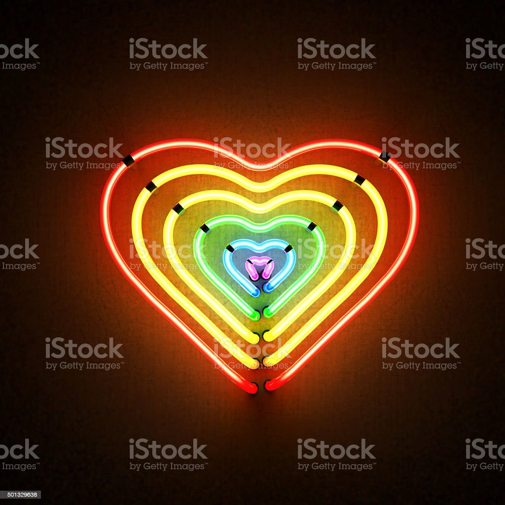 heart_shaped_six_neon_lights_gay_flag_colors stock photo