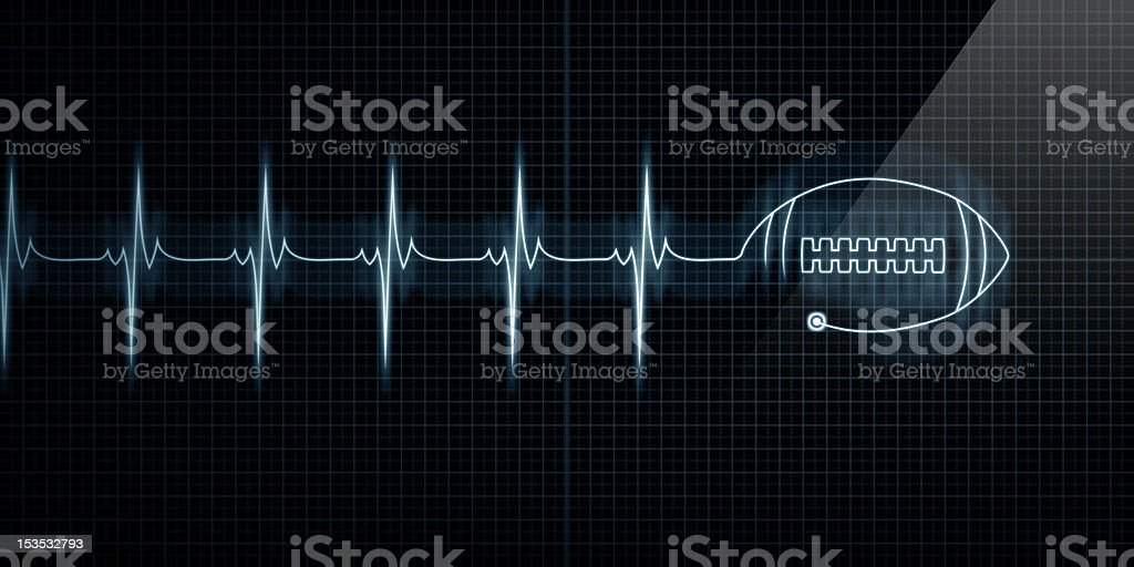 Heartbeat Monitor with football stock photo