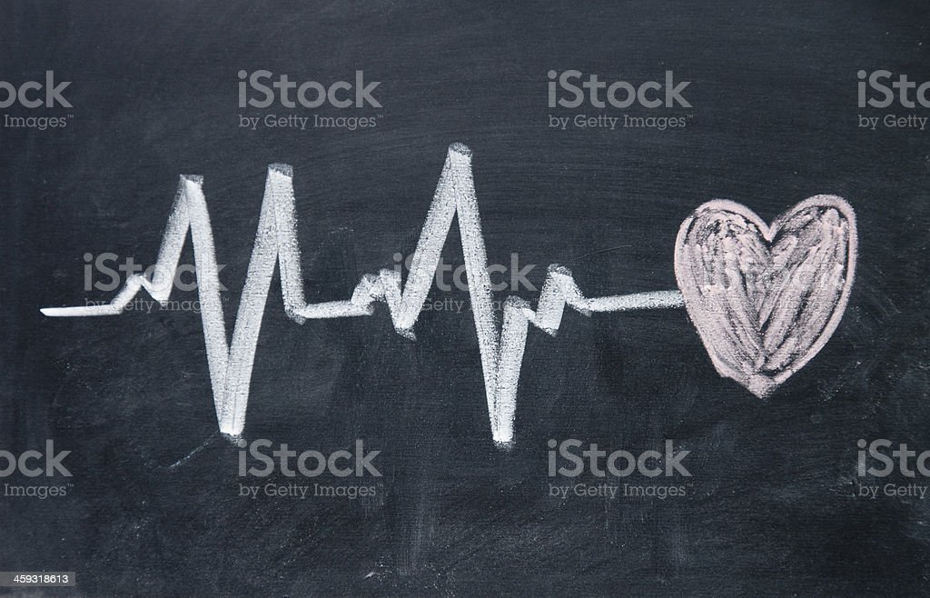 Heartbeat sign and love heart pattern royalty-free stock vector art