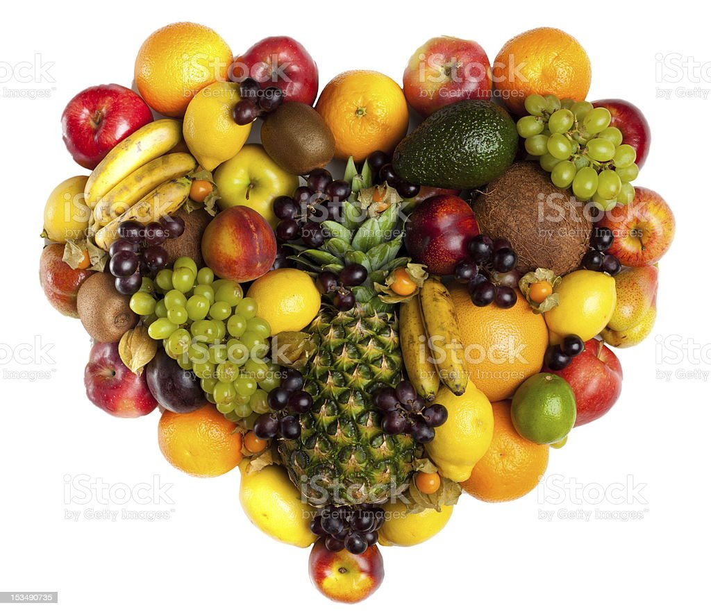 Hearth of fruits stock photo