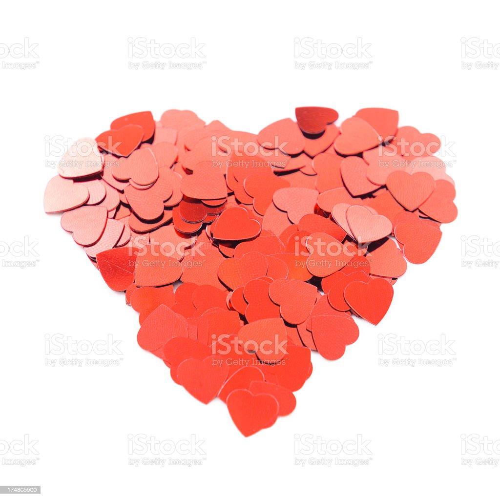 Hearth shape confetti on white royalty-free stock photo