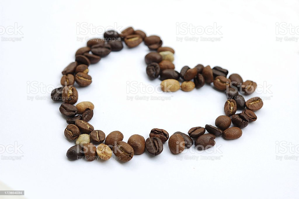 Hearth shape with coffee beans royalty-free stock photo