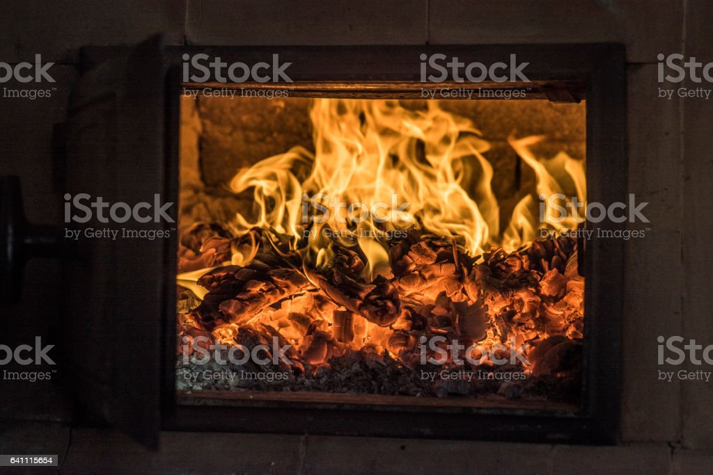 Hearth with fire stock photo