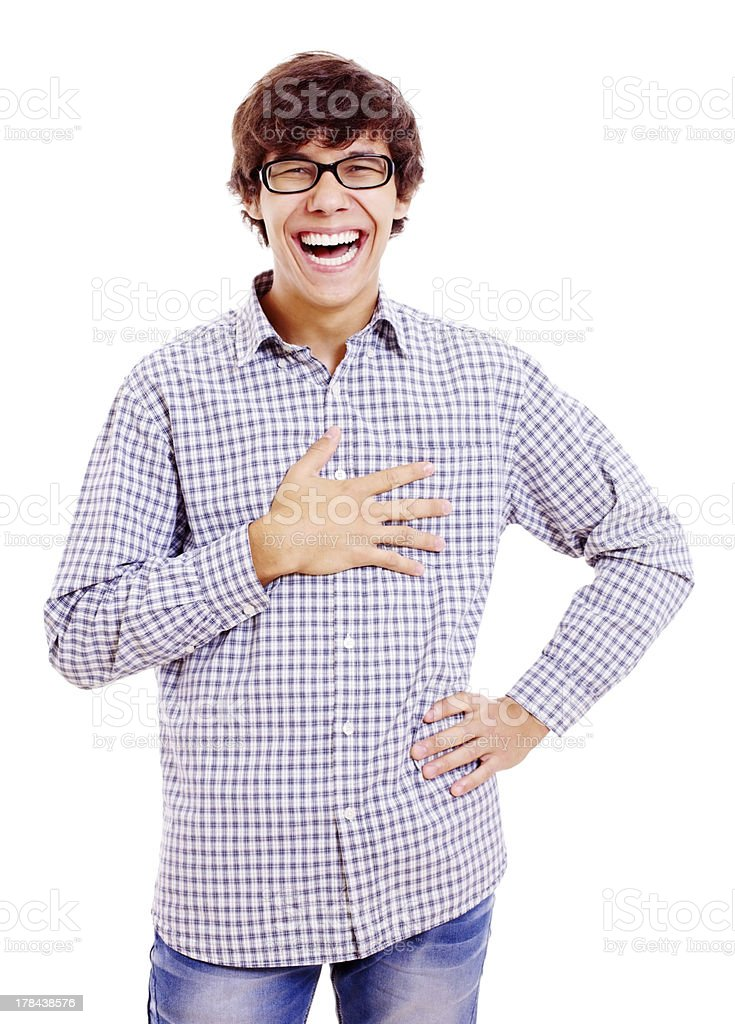 Heartily laughing young man stock photo
